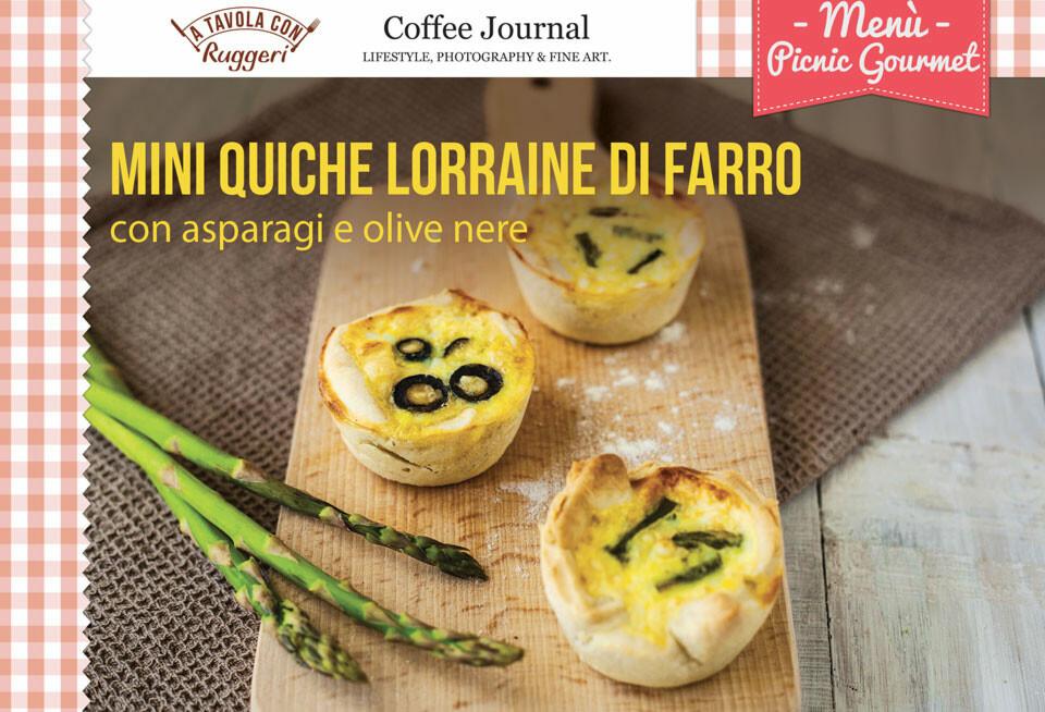 Mini quiche lorraine di farro con asparagi e olive nere (€ 1.60 a pax)