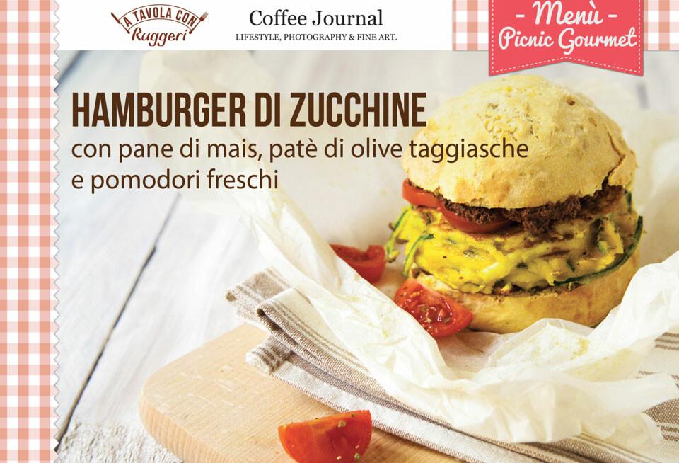 Hamburger di zucchine con pane di mais, patè di olive taggiasche e pomodori freschi