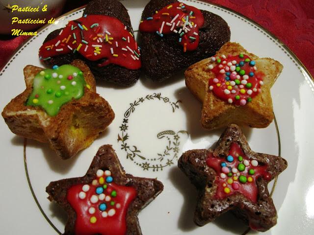 Stelline di pan d'arancio e cuori di cioccolato