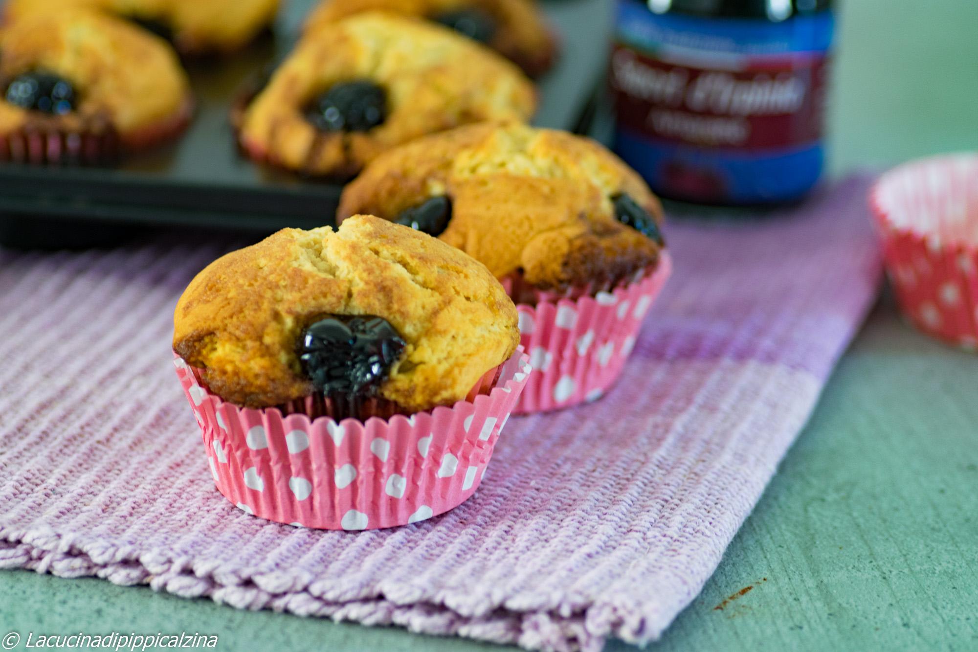 Muffin alle amarene | Farina di Grano Tenero Macinata a Pietra