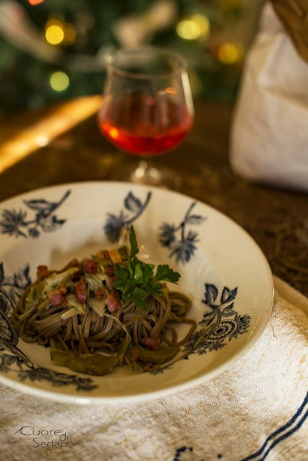 Tagliolini con carciofi e pancetta croccante