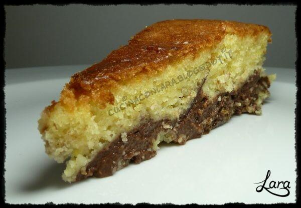 Torta paradiso all'arancia con budino al cioccolato (con farina di farro e senza burro)