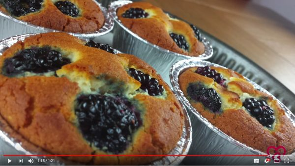 Video ricetta, Muffin alle More con Farina di Riso Ruggeri